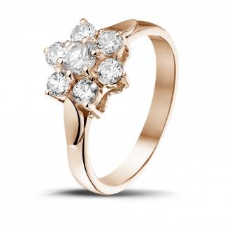 - 1.00 karaat diamanten bloemenring in rood goud