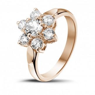 1.15 caraat diamanten bloemenring in rood goud