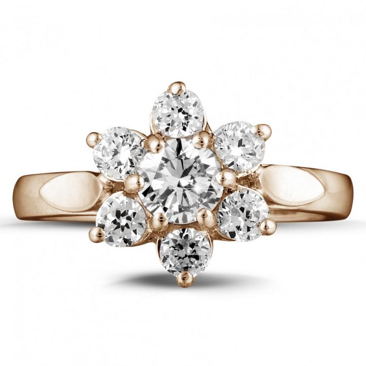 1.15 karaat diamanten bloemenring in rood goud
