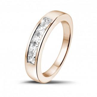 Roodgouden diamanten trouwringen en alliances - 0.75 karaat roodgouden alliance met princess diamanten