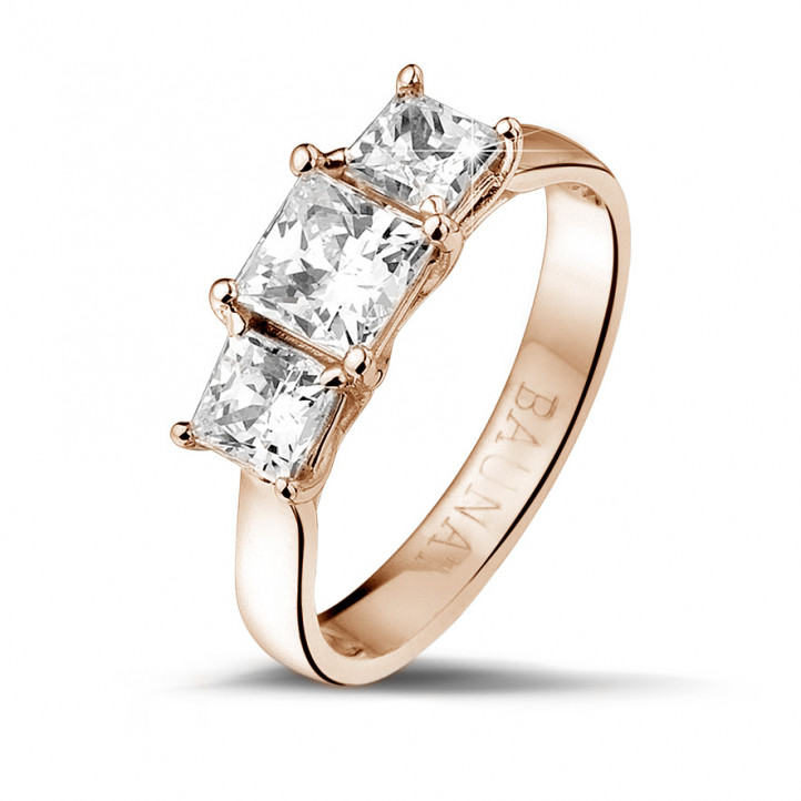 1.50 caraat trilogie ring in rood goud met princess diamanten