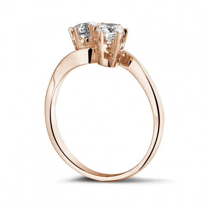 0.50 caraat diamanten Toi et Moi ring in rood goud