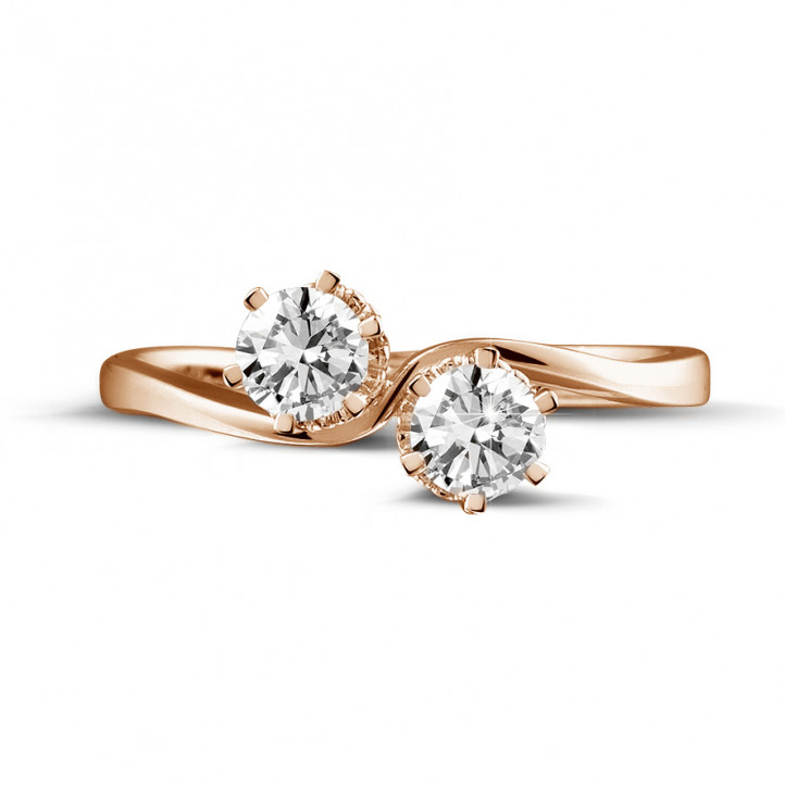 0.50 karaat diamanten Toi et Moi ring in rood goud