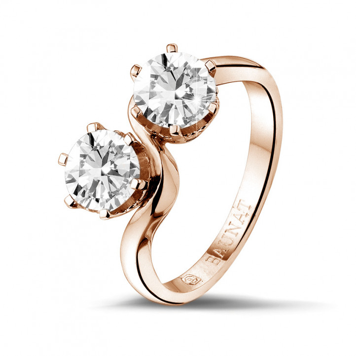 1.50 caraat diamanten Toi et Moi ring in rood goud