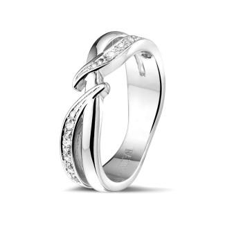 Witgouden diamanten alliance - 0.11 caraat diamanten ring in wit goud