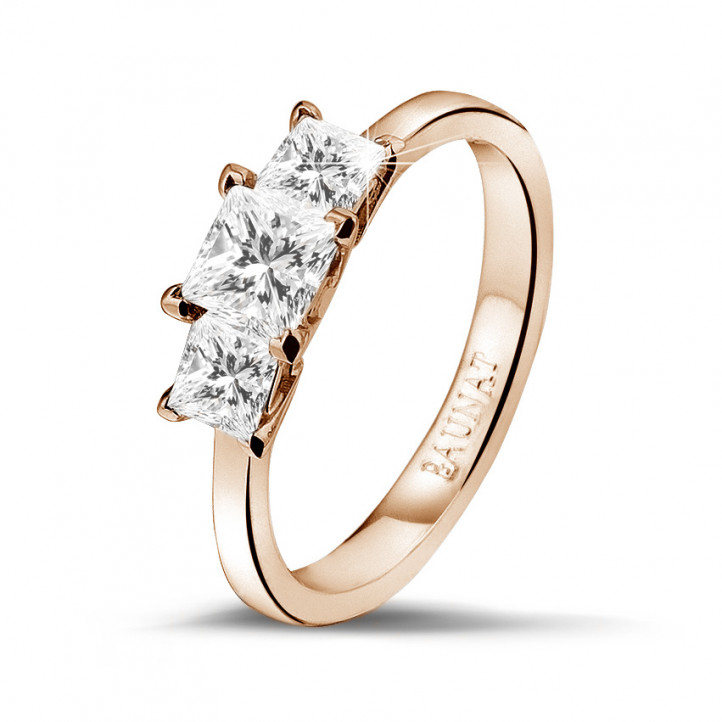 1.05 caraat trilogie ring in rood goud met princess diamanten