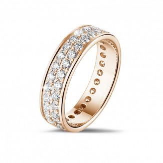 Roodgouden Diamanten Ringen - 1.15 caraat alliance (volledig rondom gezet) in rood goud met twee rijen ronde diamanten