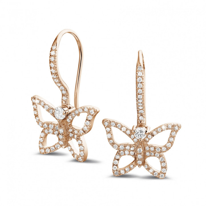 0.70 caraat diamanten design vlinder oorbellen in rood goud
