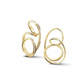 Geelgouden Diamanten Oorbellen - 1.50 karaat diamanten design oorbellen in geel goud