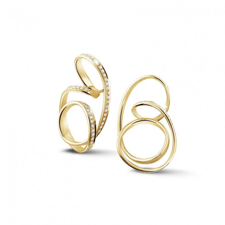 1.50 karaat diamanten design oorbellen in geel goud