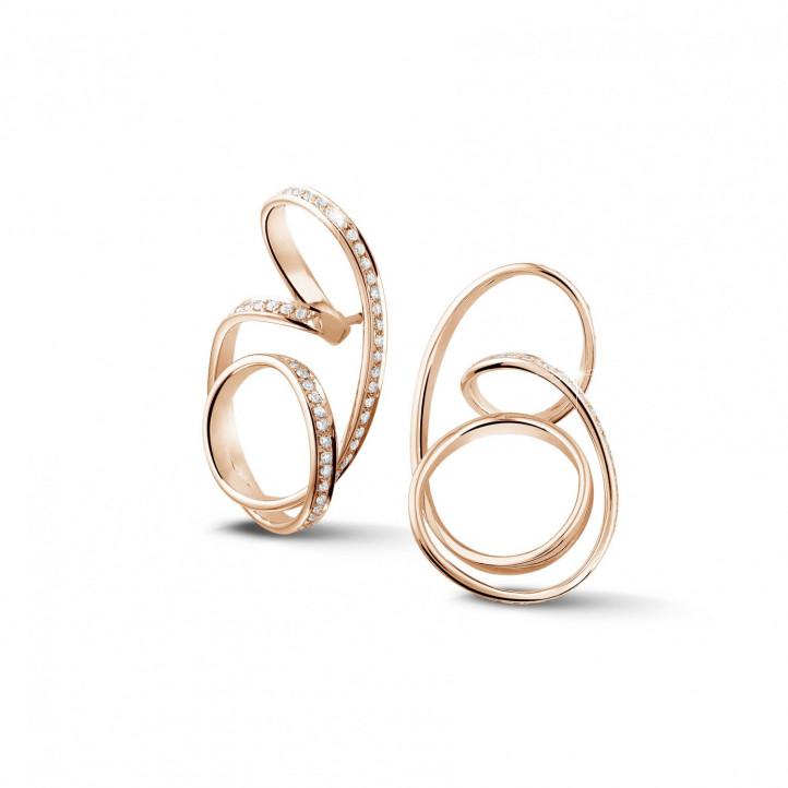 1.50 caraat diamanten design oorbellen in rood goud
