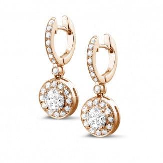 Originaliteit - 1.55 caraat diamanten halo oorbellen in rood goud