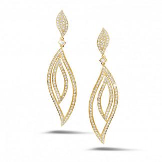 Geelgouden Diamanten Oorbellen - 2.35 karaat diamanten blaadjesoorbellen in geel goud