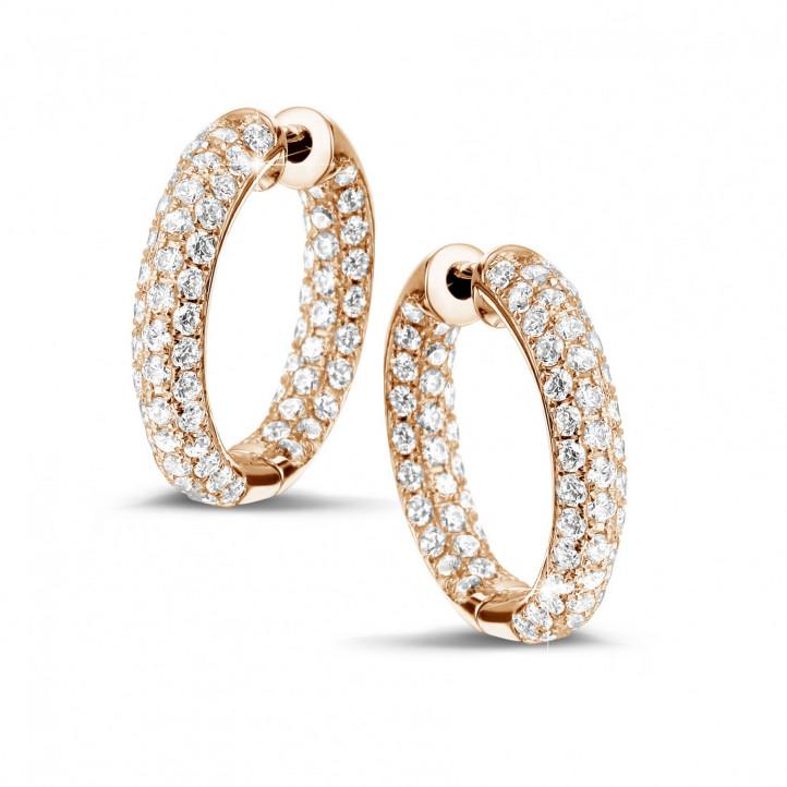 2.15 caraat diamanten creolen (oorbellen) in rood goud