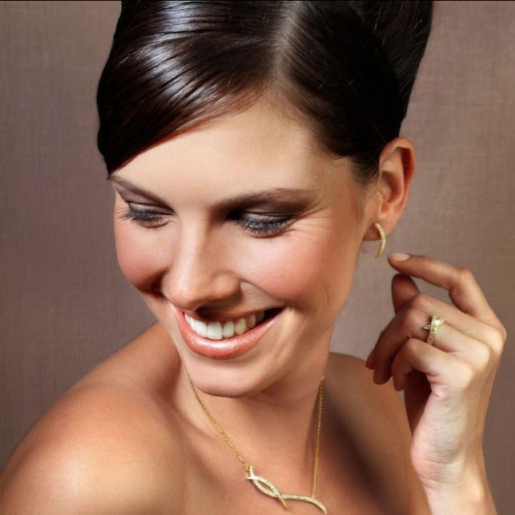 0.36 karaat diamanten design oorbellen in geel goud