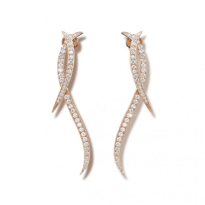 1.90 karaat diamanten design oorbellen in rood goud