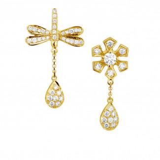 Geel Goud - 0.95 caraat diamanten bloem & libelle oorbellen in geel goud