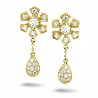 Geel Goud - 0.90 caraat diamanten bloem oorbellen in geel goud