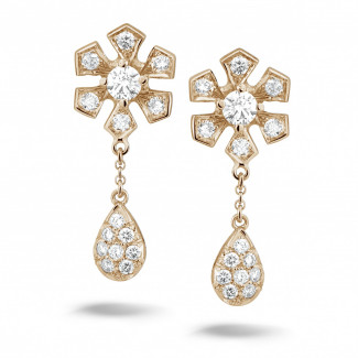 Rood Goud - 0.90 caraat diamanten bloem oorbellen in rood goud