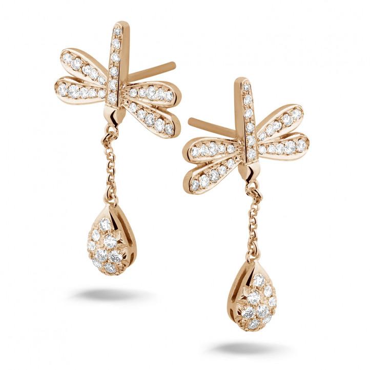 0.70 karaat diamanten libelle oorbellen in rood goud