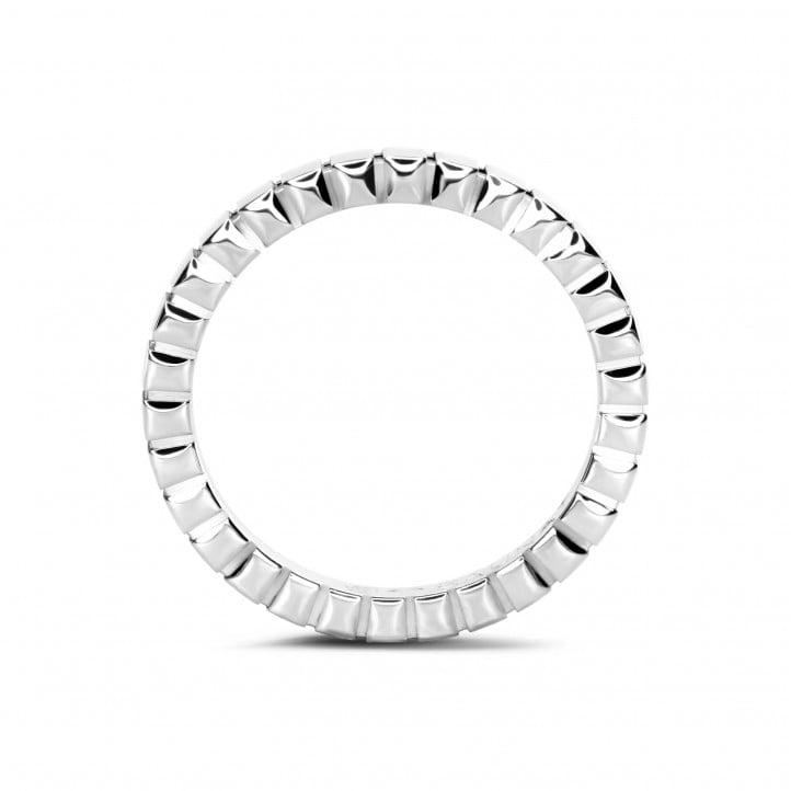 Geblokte combinatie ring in wit goud