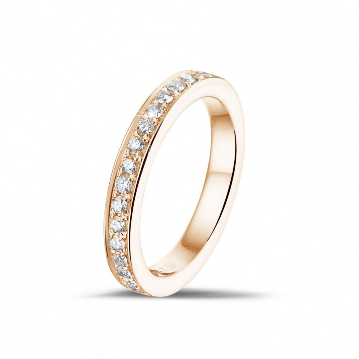 0.25 karaat diamanten alliance (half gezet) in rood goud