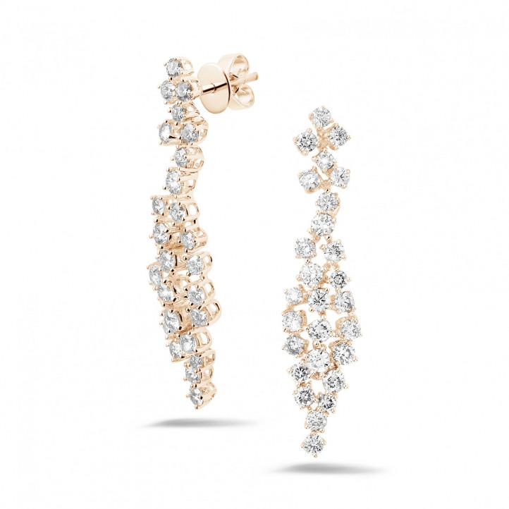 2.90 karaat diamanten oorbellen in rood goud
