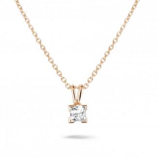 0.50 caraat solitaire hanger in rood goud met princess diamant