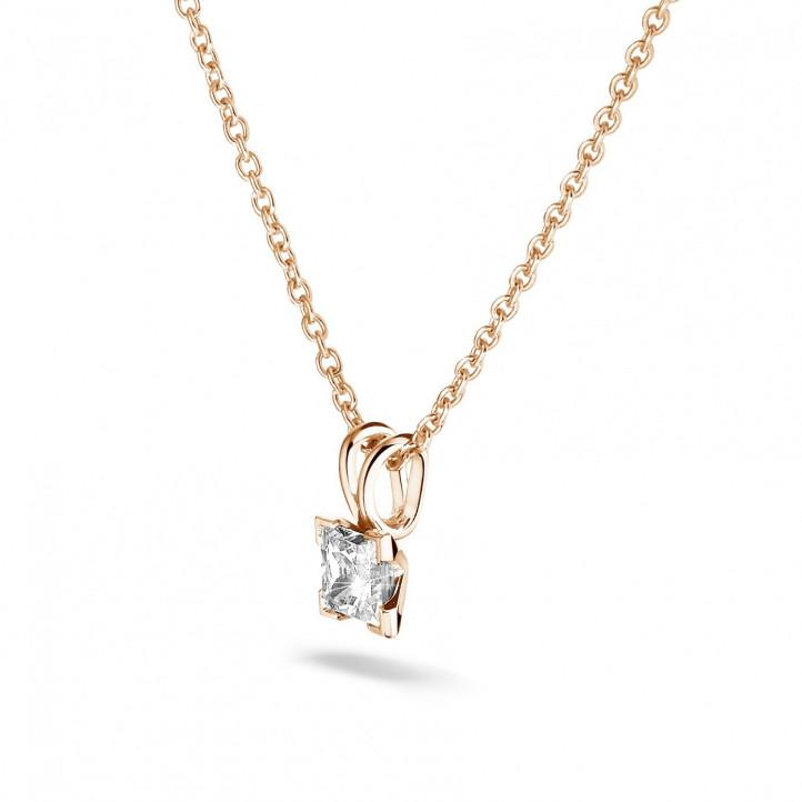 0.70 karaat solitaire hanger in rood goud met princess diamant