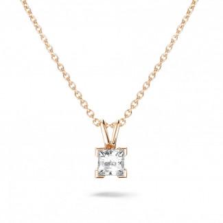 0.70 caraat solitaire hanger in rood goud met princess diamant