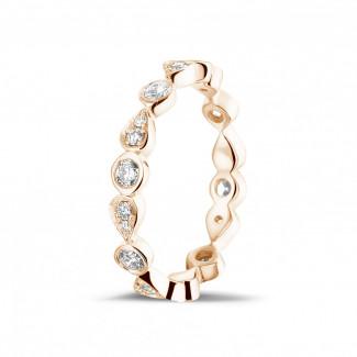 Roodgouden diamanten trouwringen en alliances - 0.50 karaat diamanten combinatie alliance in rood goud met peer-design