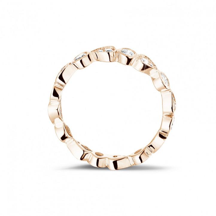 0.50 karaat diamanten combinatie alliance in rood goud met peer-design