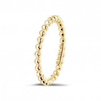 Geelgouden Diamanten Ringen - Combinatie ring met bolletjes in geel goud