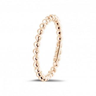 Roodgouden Diamanten Ringen - Combinatie ring met bolletjes in rood goud