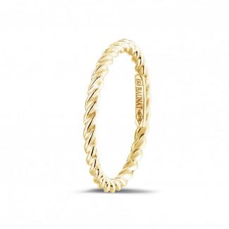 Geelgouden Diamanten Ringen - Gedraaide combinatie ring in geel goud