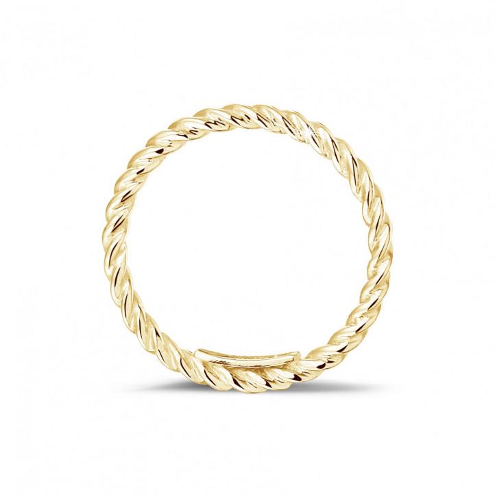 Gedraaide combinatie ring in geel goud