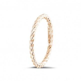 Roodgouden Diamanten Ringen - Gedraaide combinatie ring in rood goud