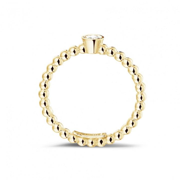 0.07 karaat diamanten combinatie ring met bolletjes in geel goud
