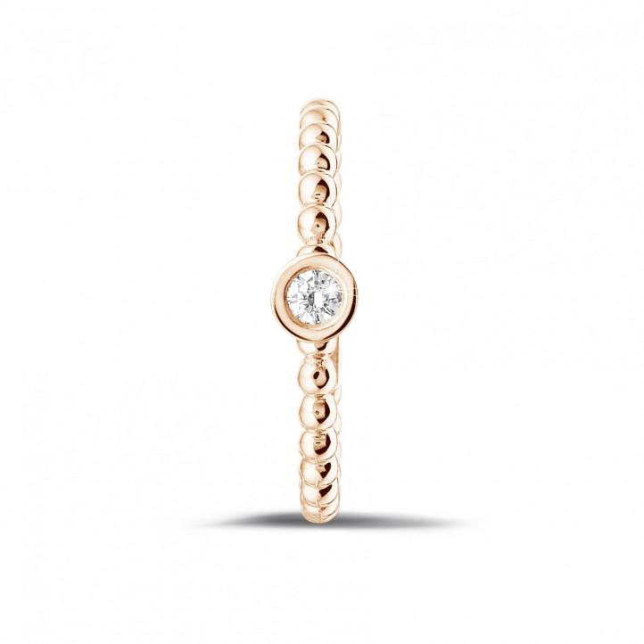0.07 karaat diamanten combinatie ring met bolletjes in rood goud