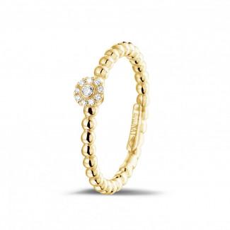 Geelgouden Diamanten Ringen - 0.04 karaat diamanten combinatie ring met bolletjes in geel goud