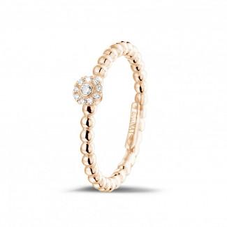 Roodgouden Diamanten Ringen - 0.04 caraat diamanten combinatie ring met bolletjes in rood goud