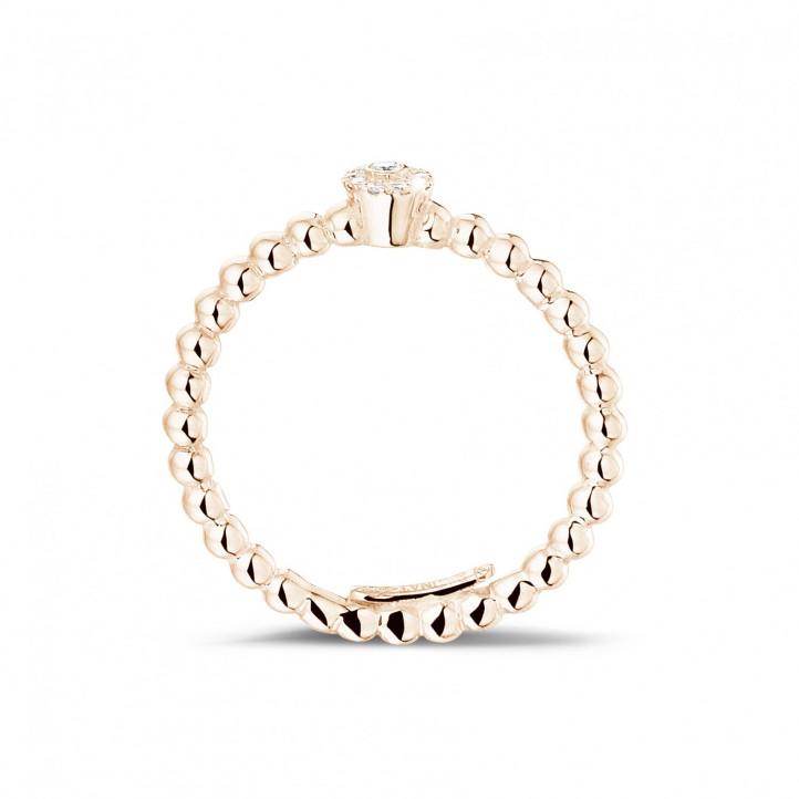 0.04 karaat diamanten combinatie ring met bolletjes in rood goud
