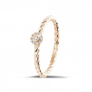 Roodgouden Diamanten Ringen - 0.04 caraat diamanten gedraaide combinatie ring in rood goud