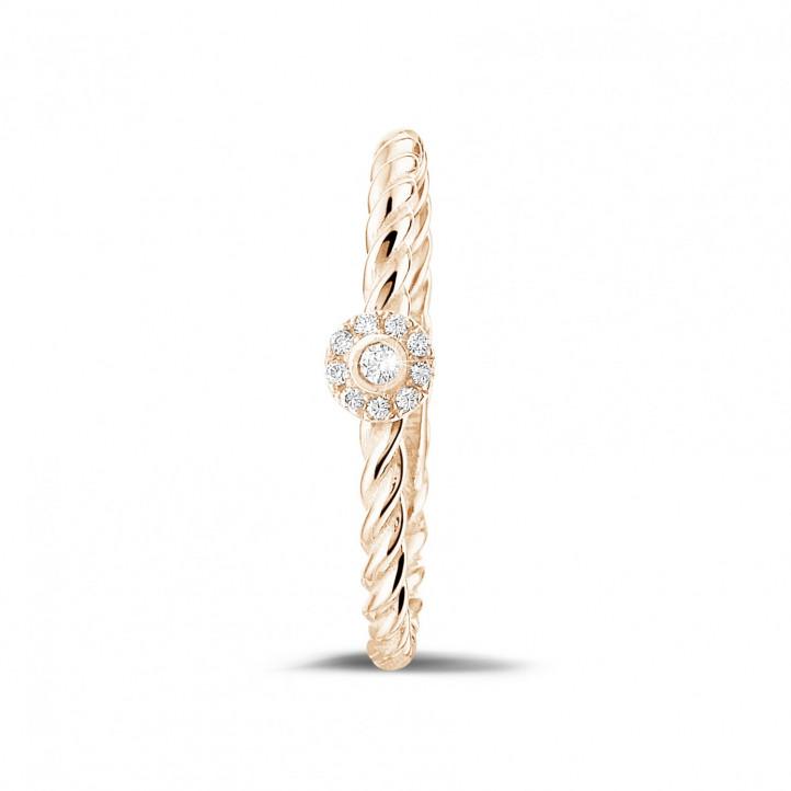 0.04 karaat diamanten gedraaide combinatie ring in rood goud