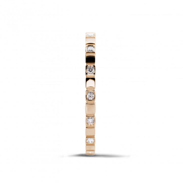 0.07 karaat diamanten geblokte combinatie ring in rood goud
