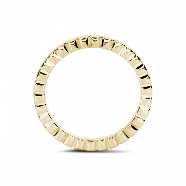 Geblokte combinatie ring in geel goud