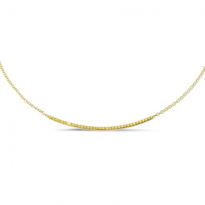 0.30 karaat fijne halsketting in geel goud met gele diamanten