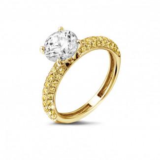 1.50 caraat solitaire ring (half gezet) in geel goud met gele diamanten zijdiamanten