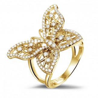 Geelgouden Diamanten Ringen - 0.75 caraat diamanten design vlinderring in geel goud