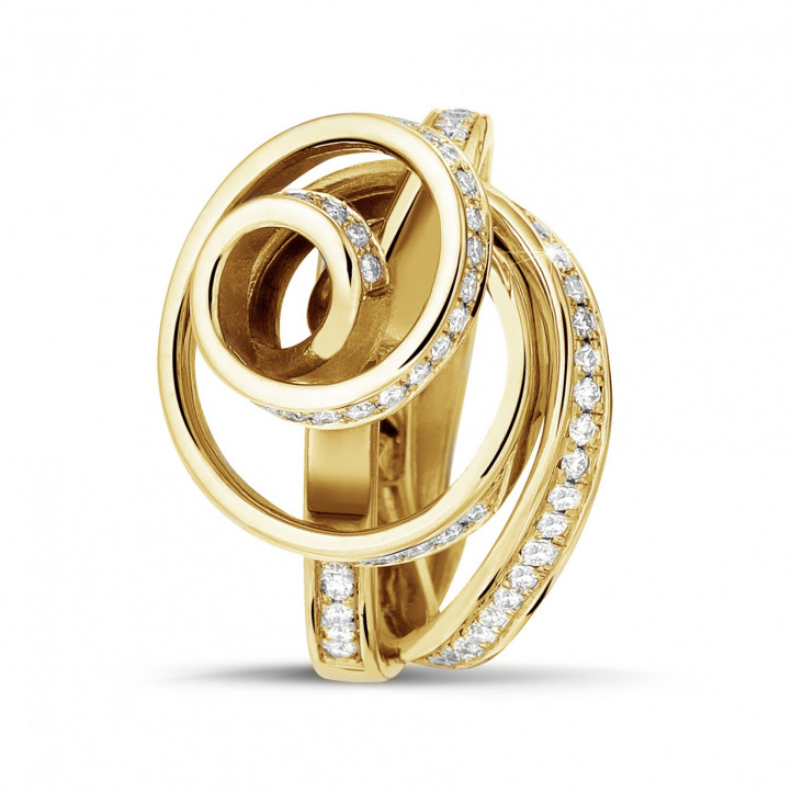 0.85 karaat diamanten design ring in geel goud